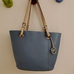 Light Blue Michael Kors Leather Tote Purse